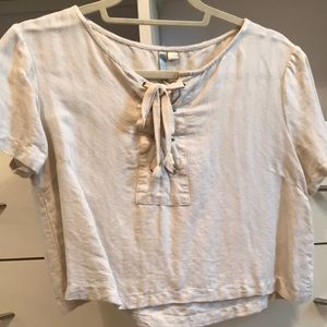 Cropped T-shirt lace up
